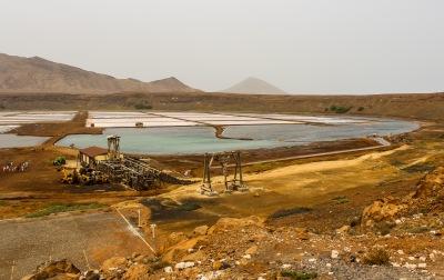 Salt evaporation pond in Volcanic crater (Pedra de Lume)